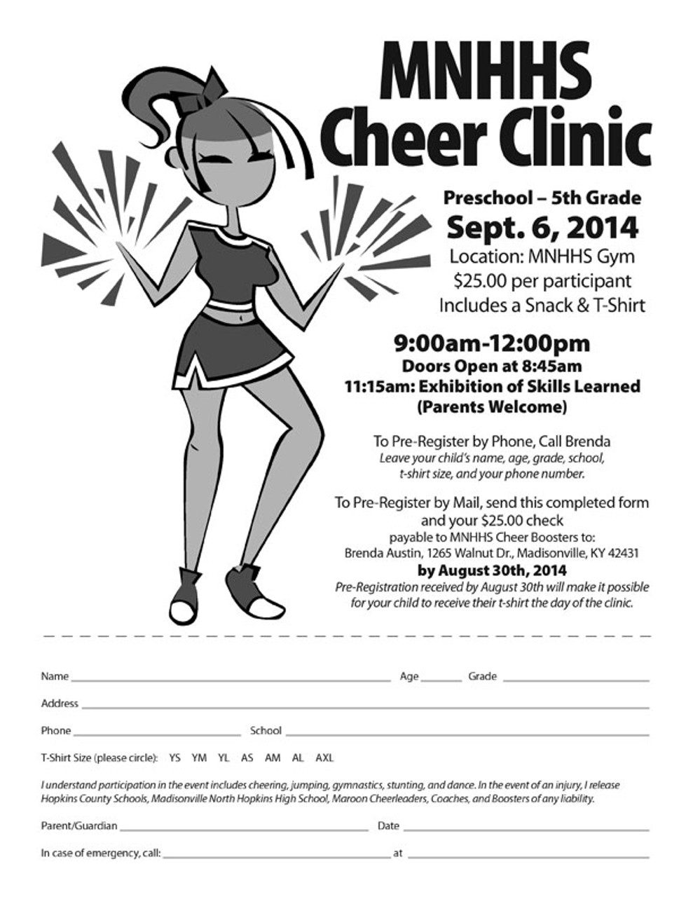 Black & White copies are ideal for registration forms!