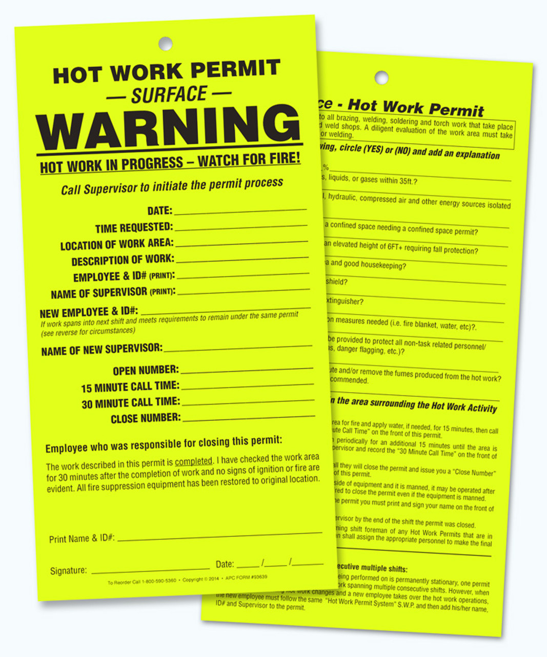 APC 93639: Hot Work Permit – SURFACE