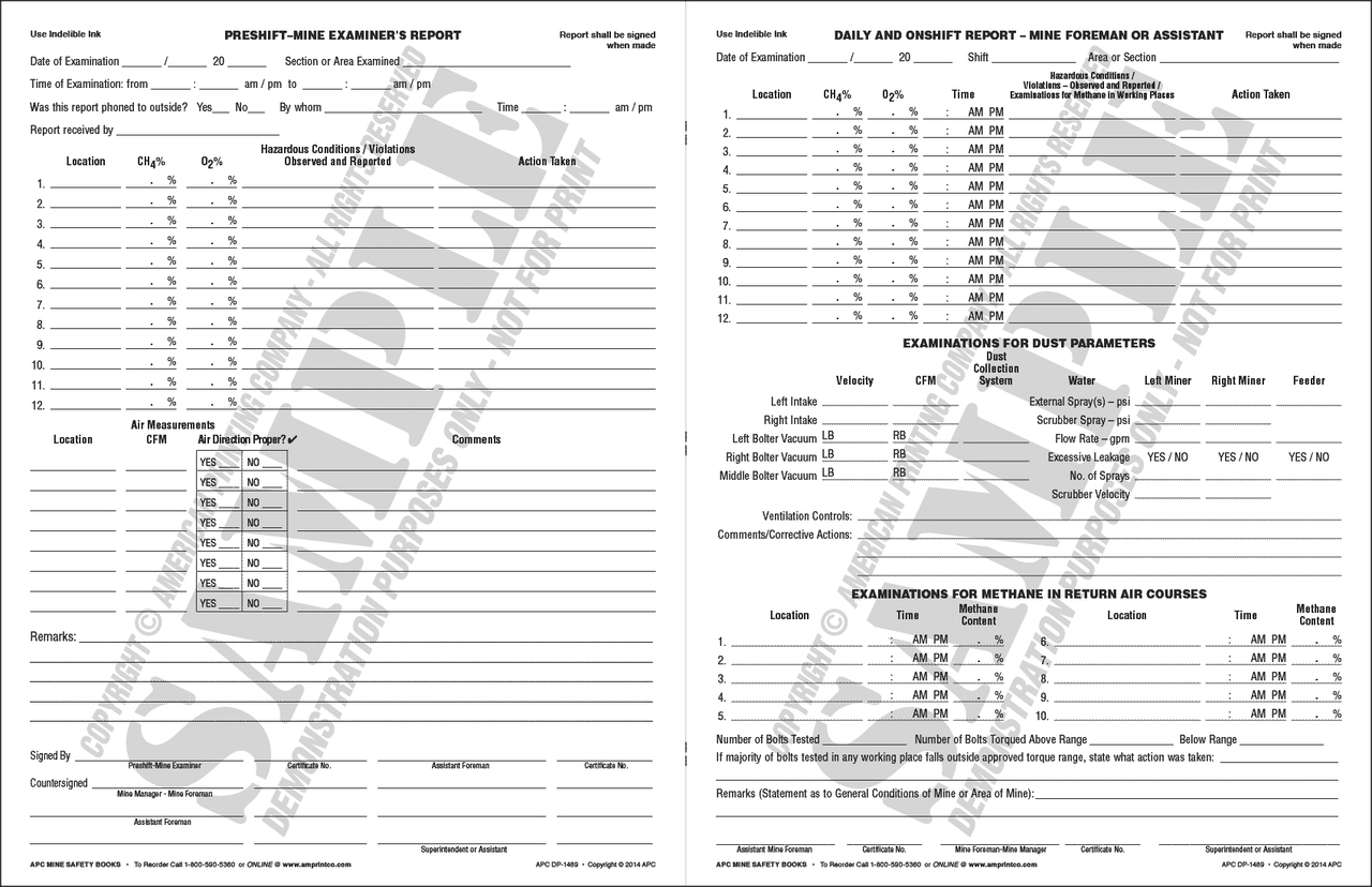 Pre-Shift On-Shift Daily Report and Dust Parameters example report text pages