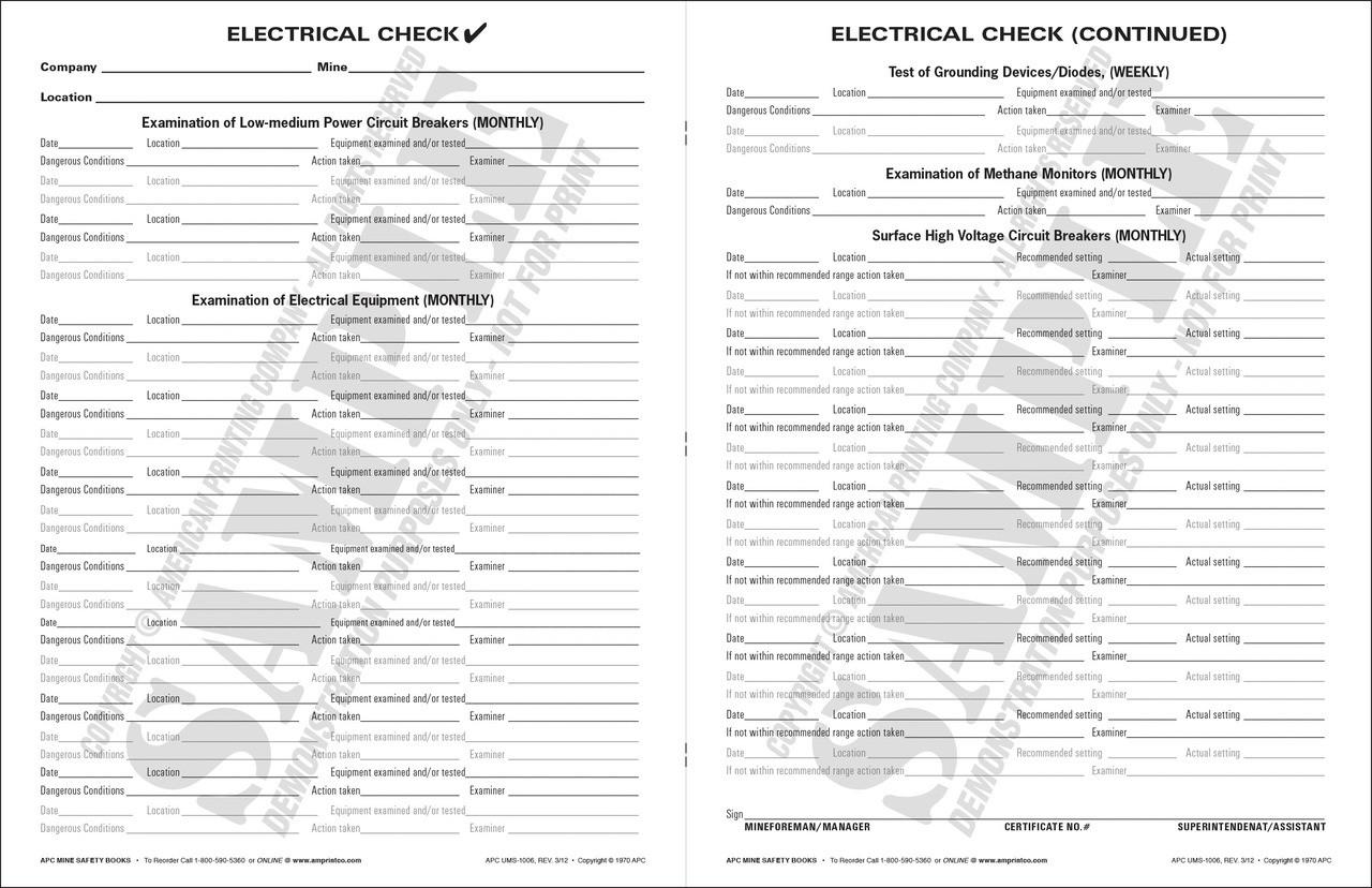 APC UMS-1006: Electrical Check (APC UMS-1006) — Inside Text Spread