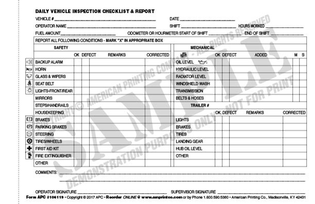 Daily Vehicle Checklist 106119 Daily Vehicle Inspection Checklist Pre Operation Report