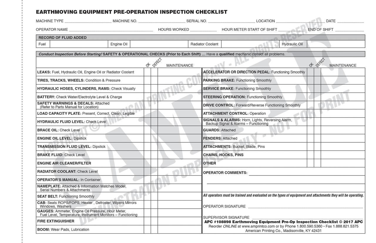 Earthmoving Equipment Checklist Form