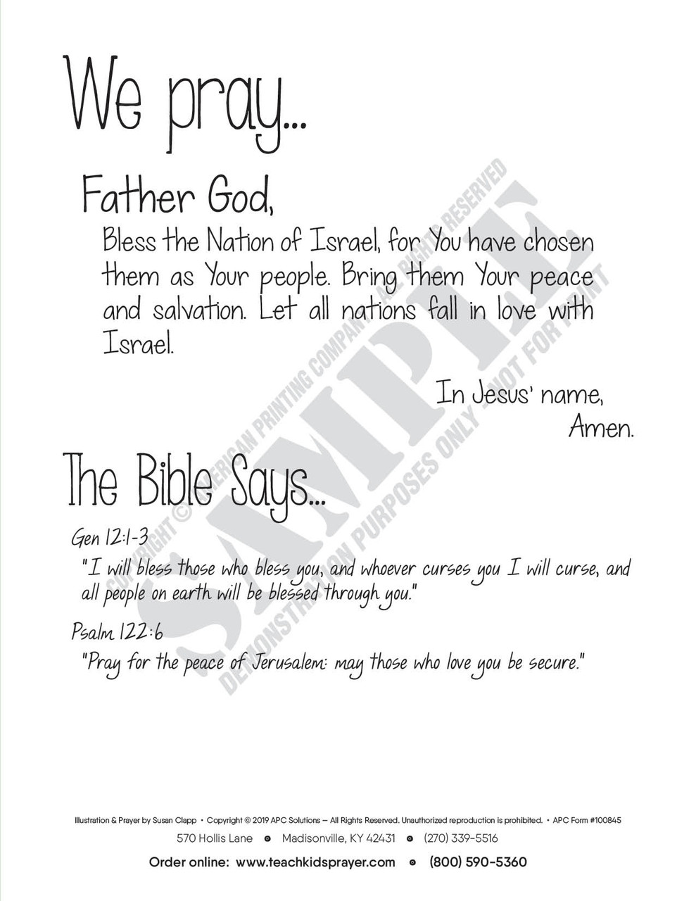 Reverse side of each Prayer Card includes a sample prayer, and scripture references that relate to the card's artwork.