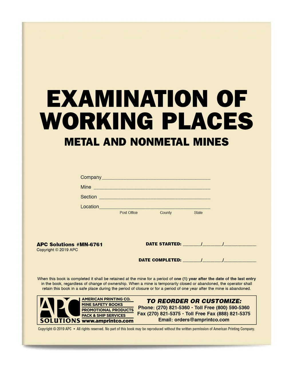 APC MN-6761: Examination of Working Places Metal and Nonmetal Mines