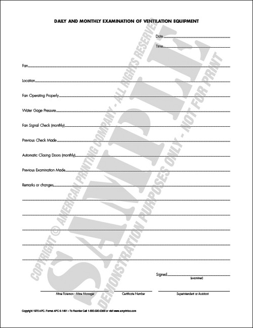 APC 6-1491: Daily & Monthly Examination of Ventilation Equipment