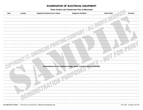 APC 6-1492: Examination of Electrical Equipment — Top Page