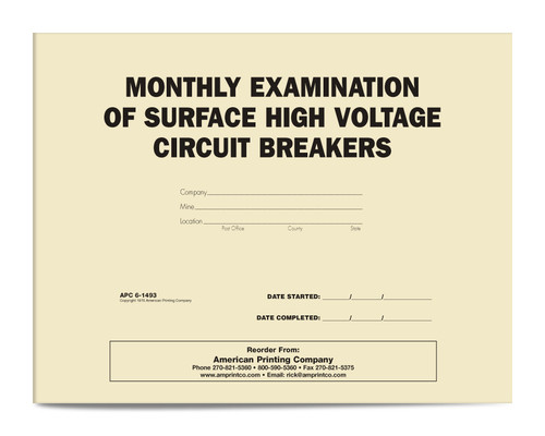 APC 6-1493: Monthly Examination of Surface High Voltage Circuit Breakers — Front Cover