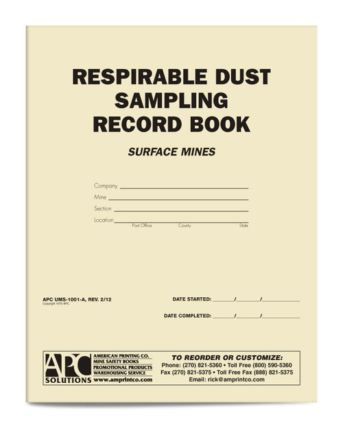 Respirable Dust Sampling Record Book Surface Mining