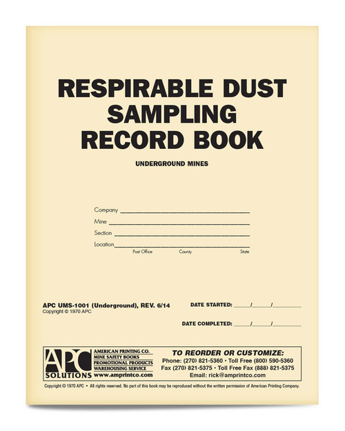 APC UMS-1001 Respirable Dust Sample Book Underground Mining