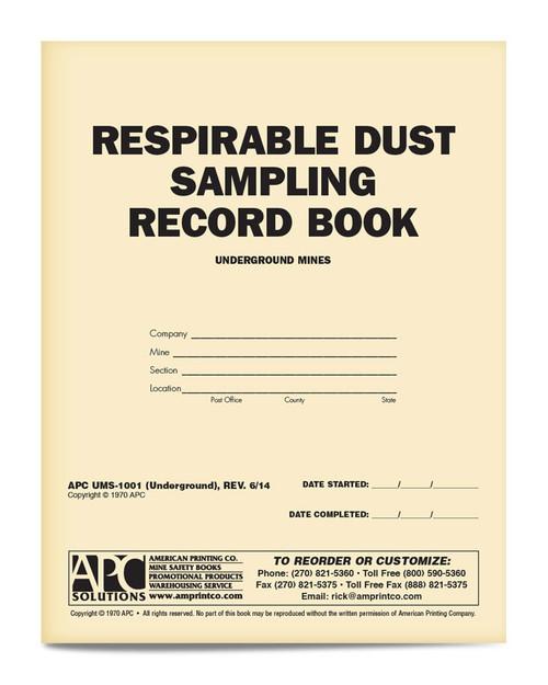 APC UMS-1001 Respirable Dust Sample Book Underground Mining