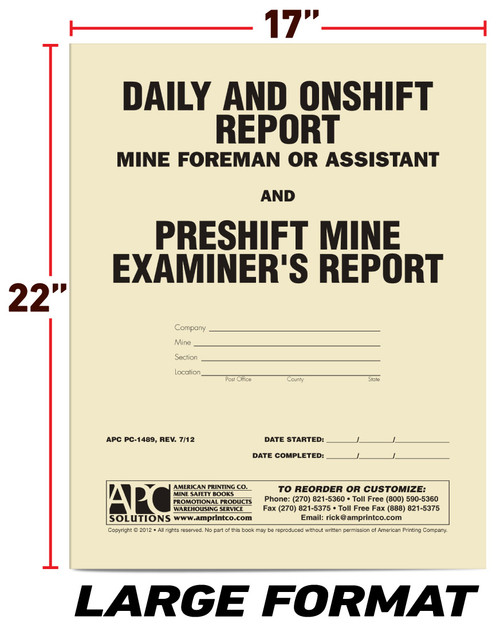 APC PC-1489: Daily and On-Shift Report Mine Foreman and Assistant  & Pre-Shift Mine Examiners Report — Cover