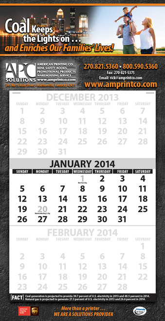 3 Month At-A-Glance CUSTOM Promotional Calendar