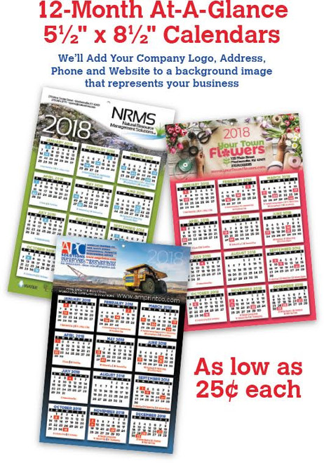 12 Month AT-A-GLANCE Custom Calendar Examples