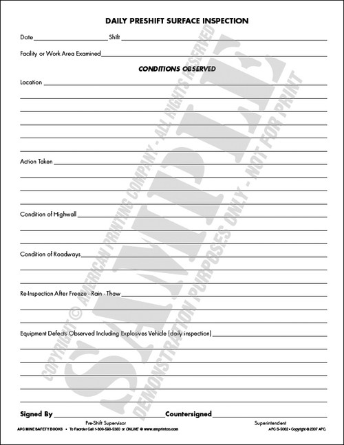 Aerial & Scissor lift daily inspection checklist form