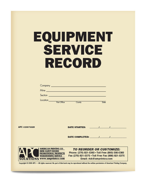 APC 20073326: Equipment Service Record (12 Month)
