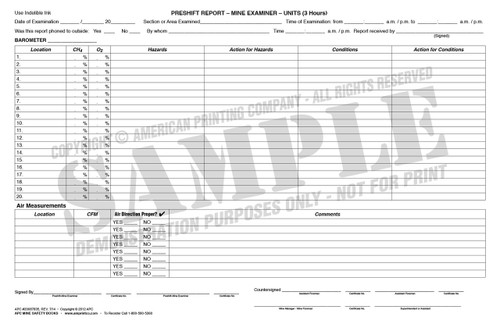 APC 20087835: Pre-shift On-shift Examiner's Report, (Revised 7/2014) – Left Side Page: Preshift Report