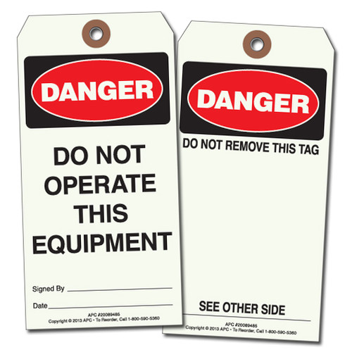"""APC 20089485: """"Do Not Operate This Equipment"""" Tag"""