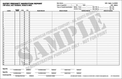 APC 20087843: Out-by Pre-shift Inspection Report