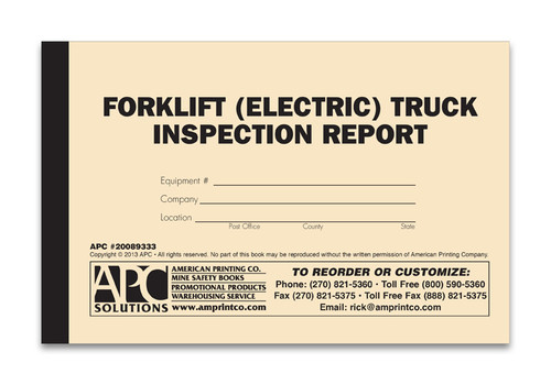 Electric Forklift Inspection Form Log Book Cover