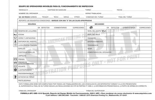 Mobile Equipment Checklist Spanish (Espanol): Equipo Movible Operadores De Funcionamiento Reporte De Inspeccion