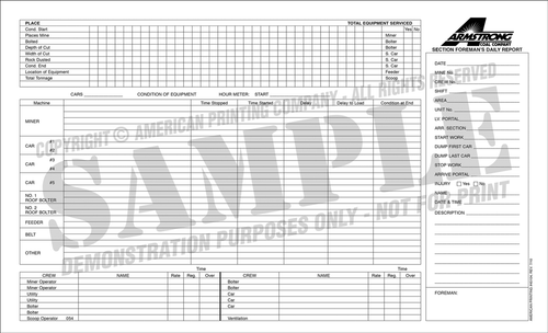 APC 45104: Section Foreman's Daily Report