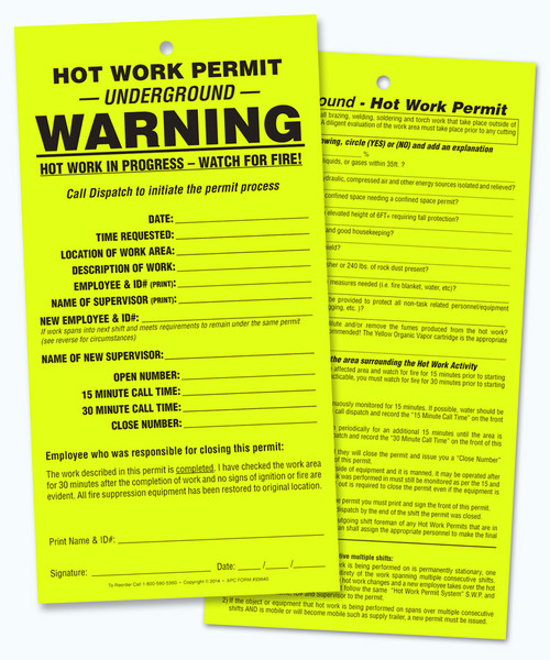 APC 93640: Hot Work Permit – UNDERGROUND