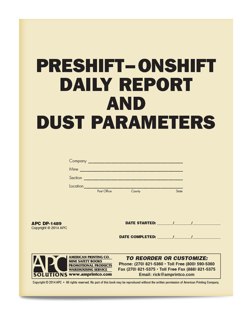 Pre-Shift On-Shift Daily Report and Dust Parameters book cover