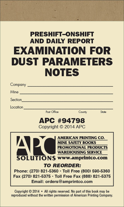 APC 94798 Pre-shift and On-shift Daily Report Examination For Dust Parameters Notebook Cover