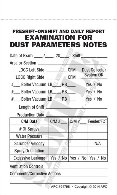 Sample form of the APC 94798 Pre-shift On-shift Daily Report Examination For Dust Parameters Pocket Notebook