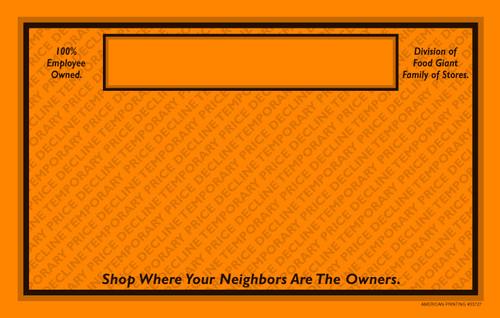 33727 Temp Price Decline 11 x 7 Orange POP Point of Purchase Signs