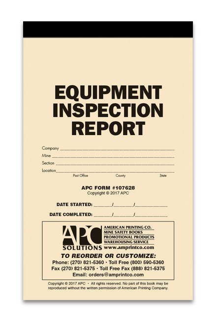 Equipment Inspection Form Book Cover