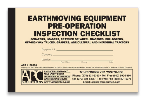 Earthmoving Equipment Checklist