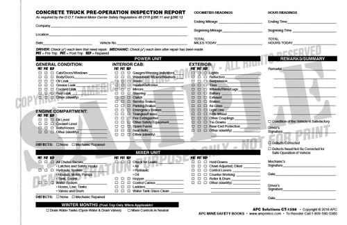 Concrete Mixer Truck Inspection Checklist Form