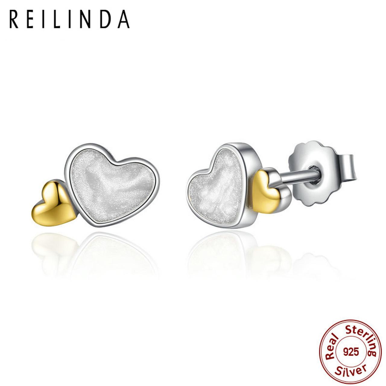 69e65c3e293e0 Classic 100% 925 Sterling Silver LUMINOUS HEARTS ROMANTIC STUD EARRINGS For  Women Fine Jewelry PAS477
