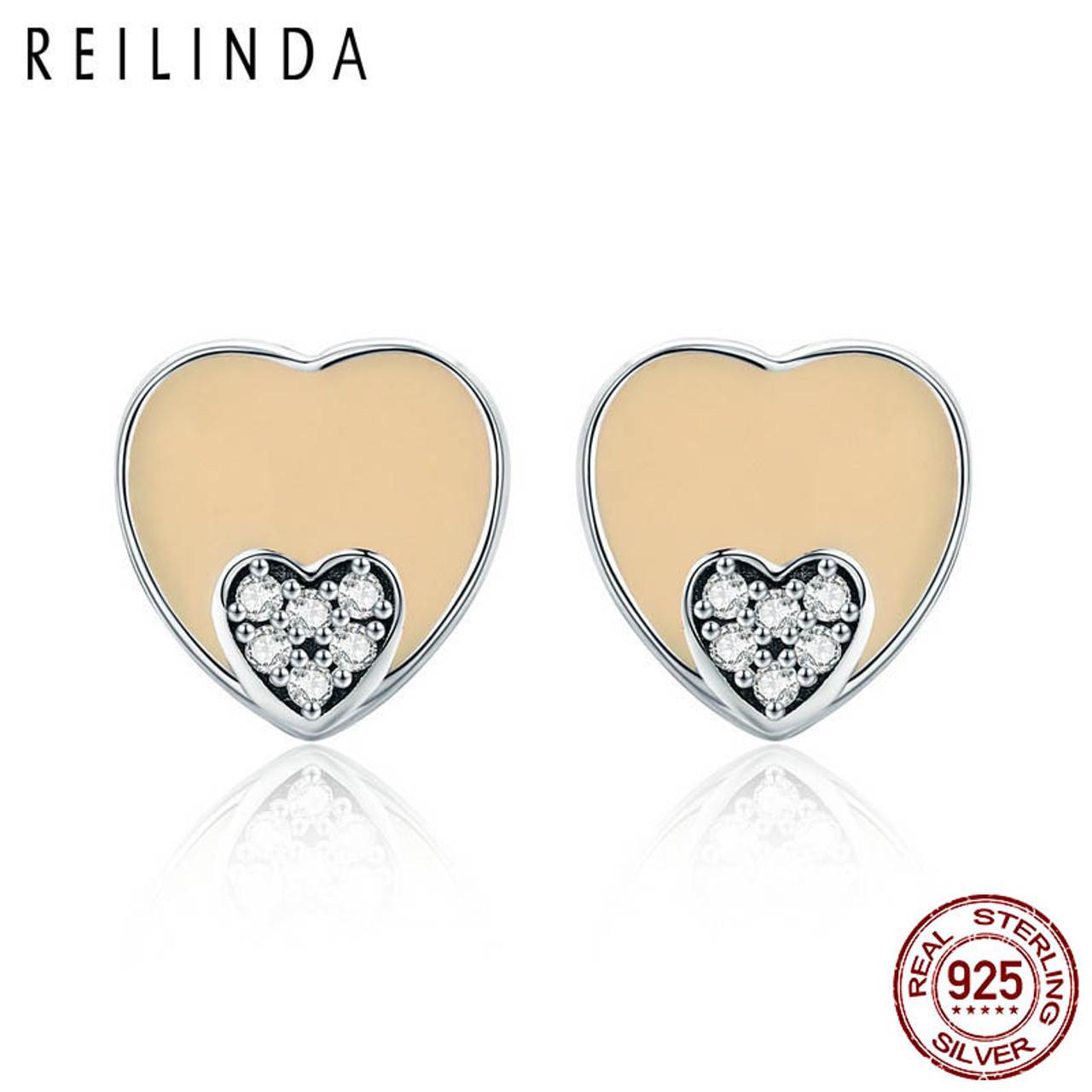 2bbfc6c932e25 Romantic 100% 925 Sterling Silver Sweet Heart AAA Zircon Stud Earrings for  Women Sterling Silver Jewelry Brincos SCE323