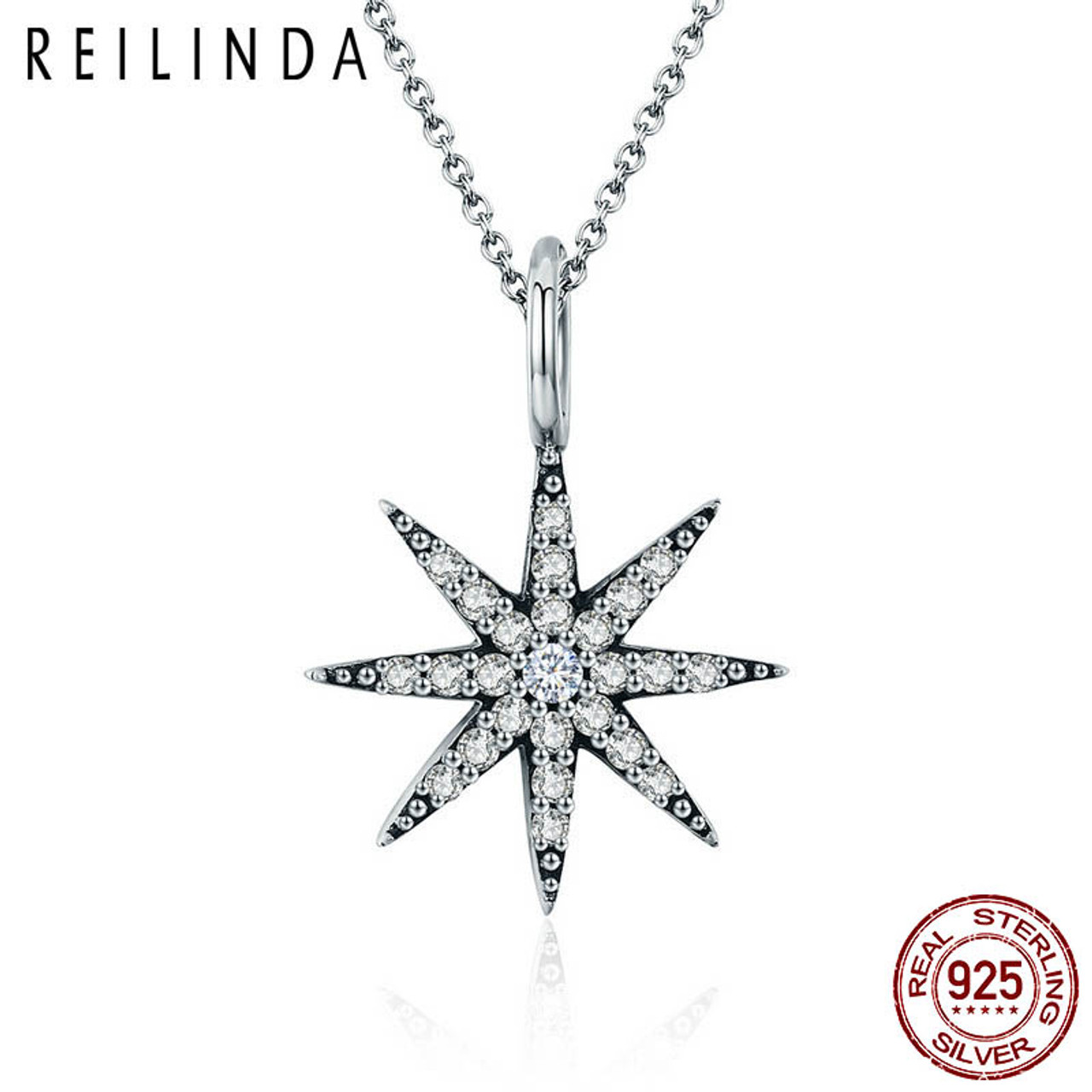 Real 925 Sterling Silver Charm Necklace New Moon With Blue Star CZ Chain Jewelry