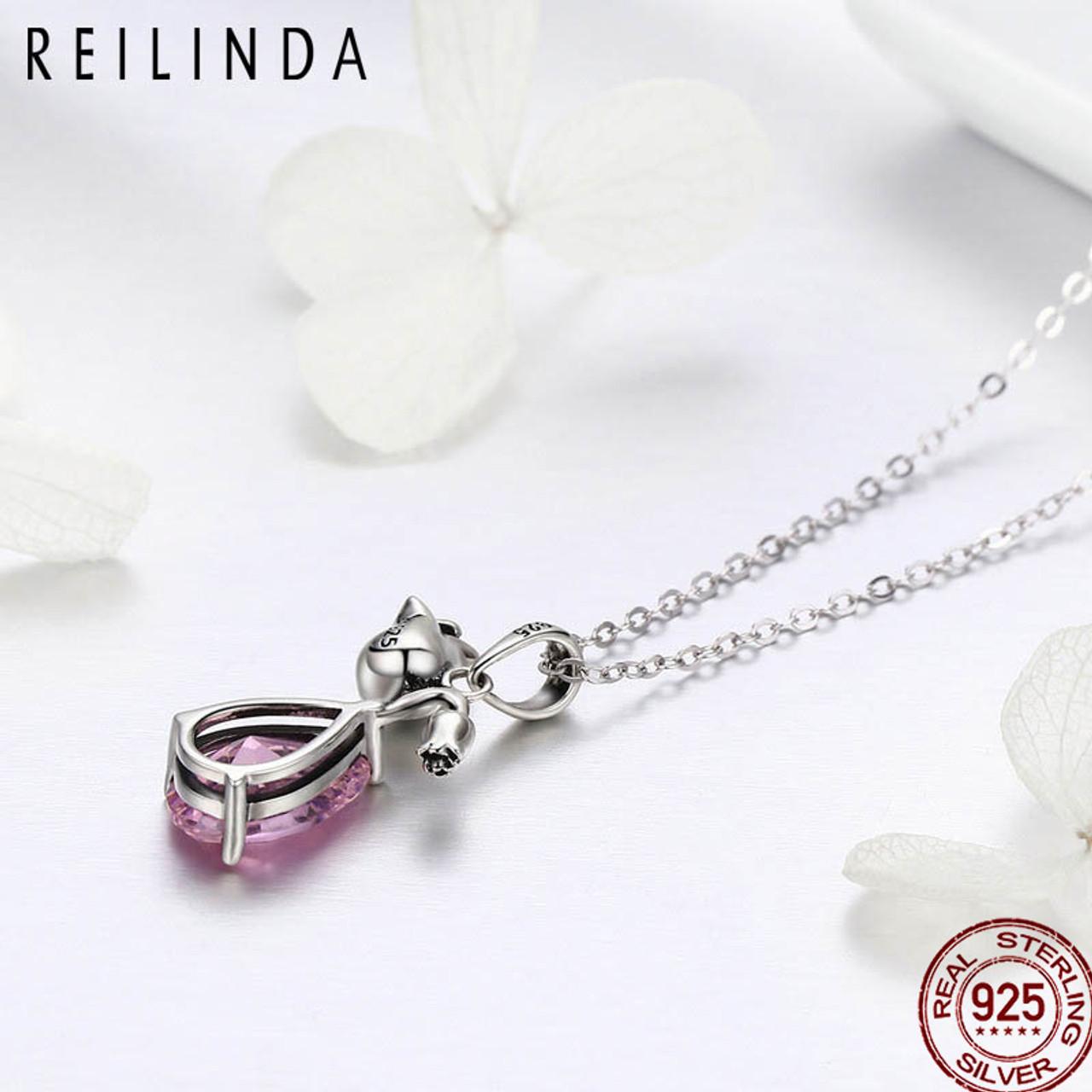 DHJAXL 100/% 925 Sterling Silver Romantic Rose Flower Pink Water Drop CZ Long Chain Women Pendant Necklace Silver Jewelry