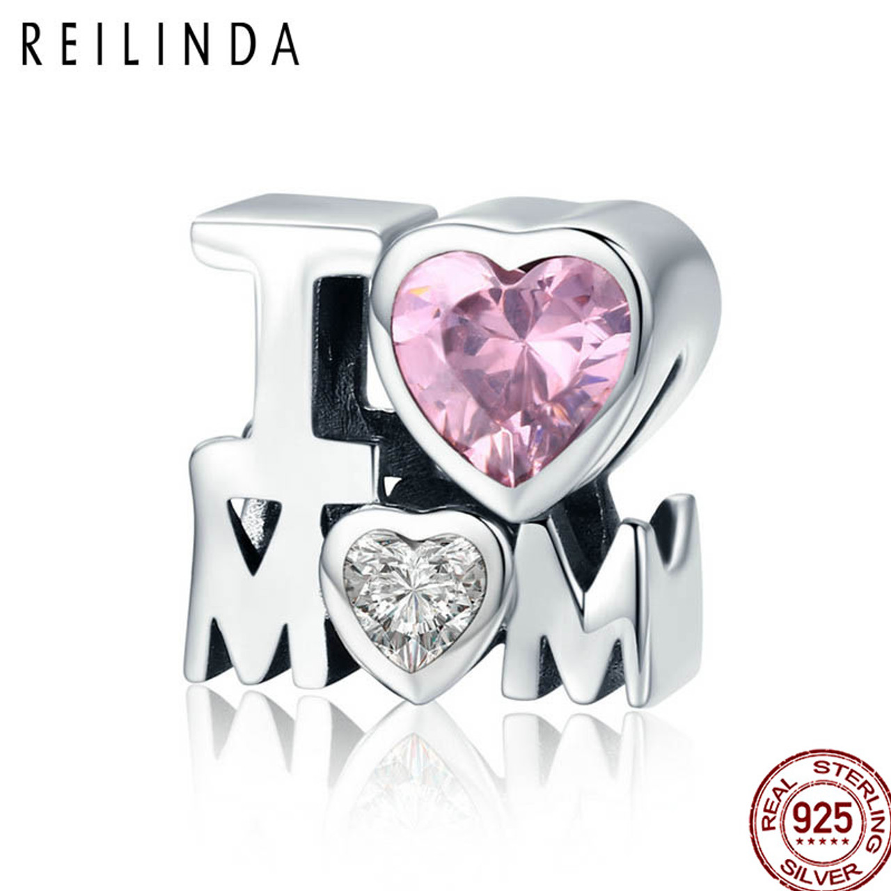100/% Genuine 925 Sterling Silver Mom in Heart Pendant Charm fit Women Bracelets DIY Jewelry Making Mother Gift