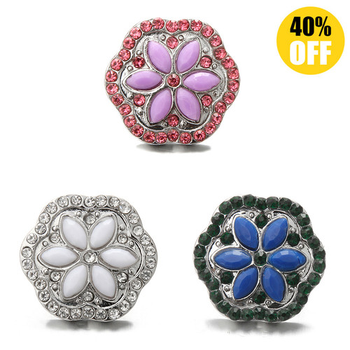 18MM 6 Flower Discs Snap Button Charms LSSN572