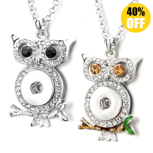 Cute Owl Button Pendants Jewelry With Rhinestones Fit 18mm Snap Button LSNP178