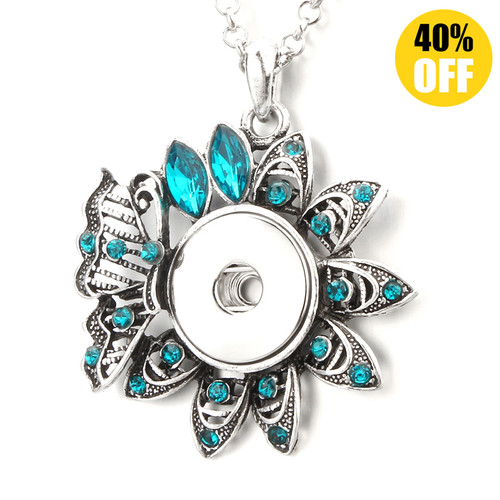 Crystal Flower Button Pendant Necklace LSNP161