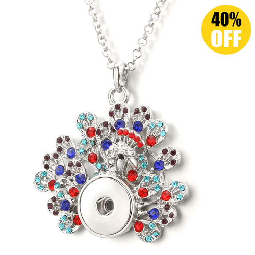 Beautiful  Peacock Button Necklace Diy With Rhinestones Fit 18mm Snap Button LSNP169