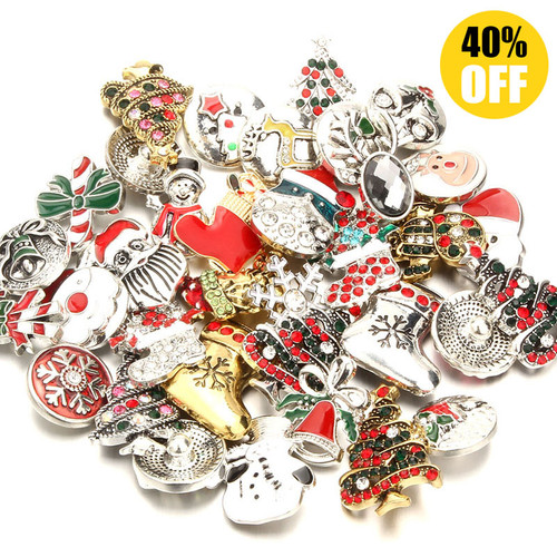 Christmas Mix Style 18mm Snap Button Charms Fit Snap Button Pendant LSSN742