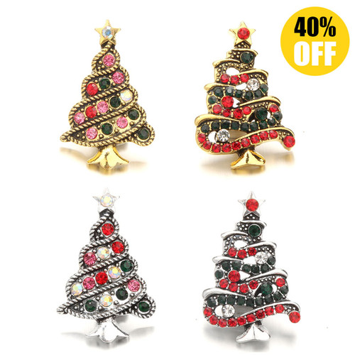 18MM 4 Christmas Trees Snap Button Charms LSSN684