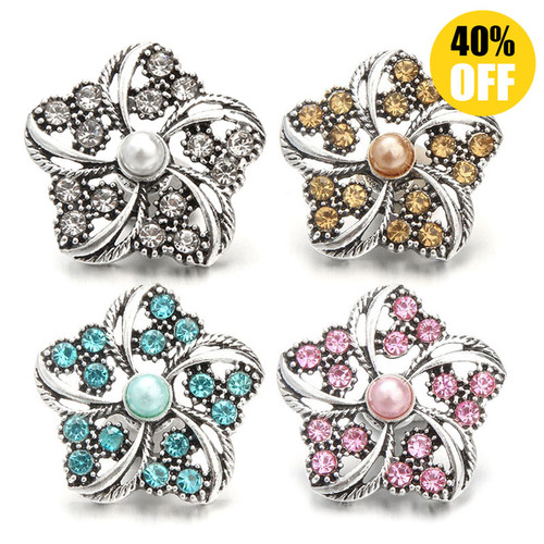 18mm Beautiful Flower Snap Jewelry Charms With Pearl LSSN688