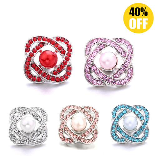 18mm Beautiful Flower Metal Snap Buttons With Rhinestones LSSN698