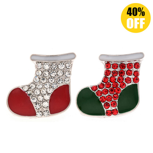 18MM Christmas Socks Snap Jewelry Charms LSSN448