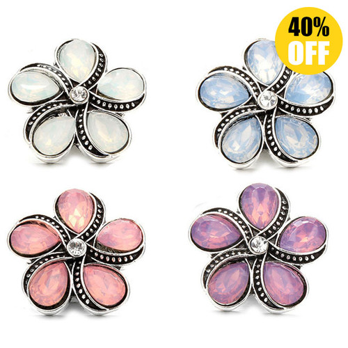 18MM Flower Design Snap Button Charms Jewelry Wholesale LSSN586