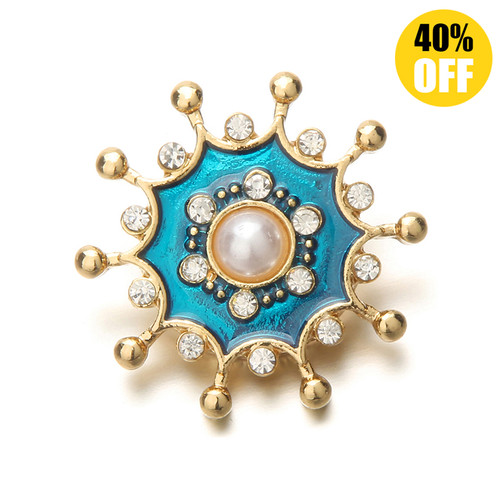 18mm Vintage Gold Pearl Snap Button Charms Beautiful Flower Snap Button Jewelry For Women LSSN536