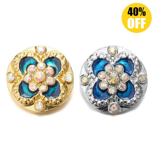 18MM Crystal Flower Snap Button Charms For Diy Sanp Wristband And Necklace LSSN558